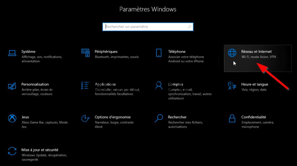 Panneau des paramètres Windows 10 en mode sombre.