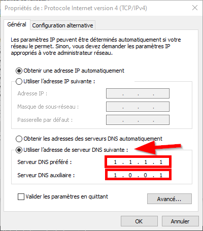 Propriétés de Protocole Internet version 4 de Windows 10